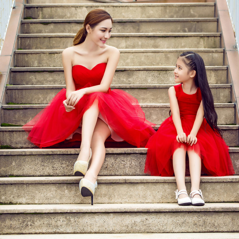Mother and Daughter Summer Red Skirt Floral Lace Beautiful Dress for Party Wedding children clothing mother and daughter dress xl xxxl lady women infant kids mom girls dress with dancing rabbit beautiful skirt