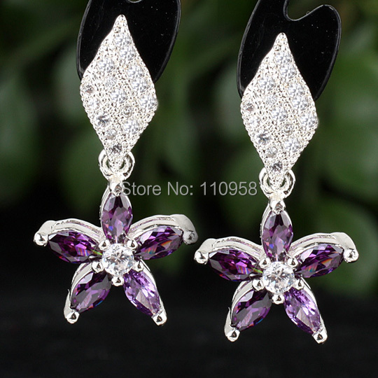 Women 925 Sterling Silver Earrings Marquise Purple Amethyst Star Dangle jewelry MNS E088PA Birthday Gift
