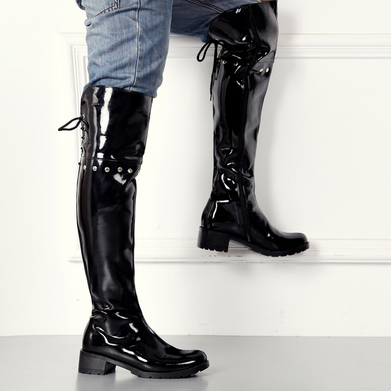 2017 Handmade Fashion Leather Club High Heeled Mens Pointed Race up Knee High Tube Long Boots Sexy Motorcycle Punk Boots