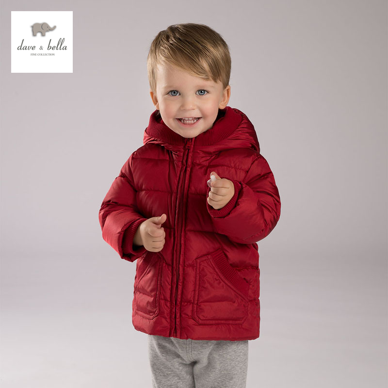 ФОТО DB3898 DAVEBELLA baby boy padded down  jacket children red  outerwear kids clothes