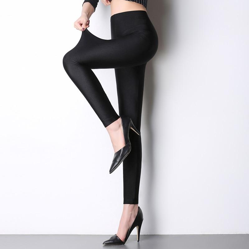 2017 spring hot high waist shiny leggings plus size soft elastic