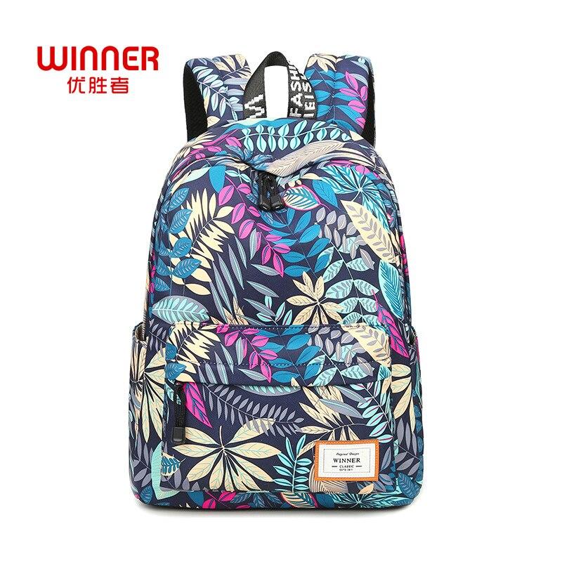 WINNER Fashion Leaves Pattern Printing Backpacks for Teenage Girls Casual Women Shoulder School Bag Travel Bags Mochilas