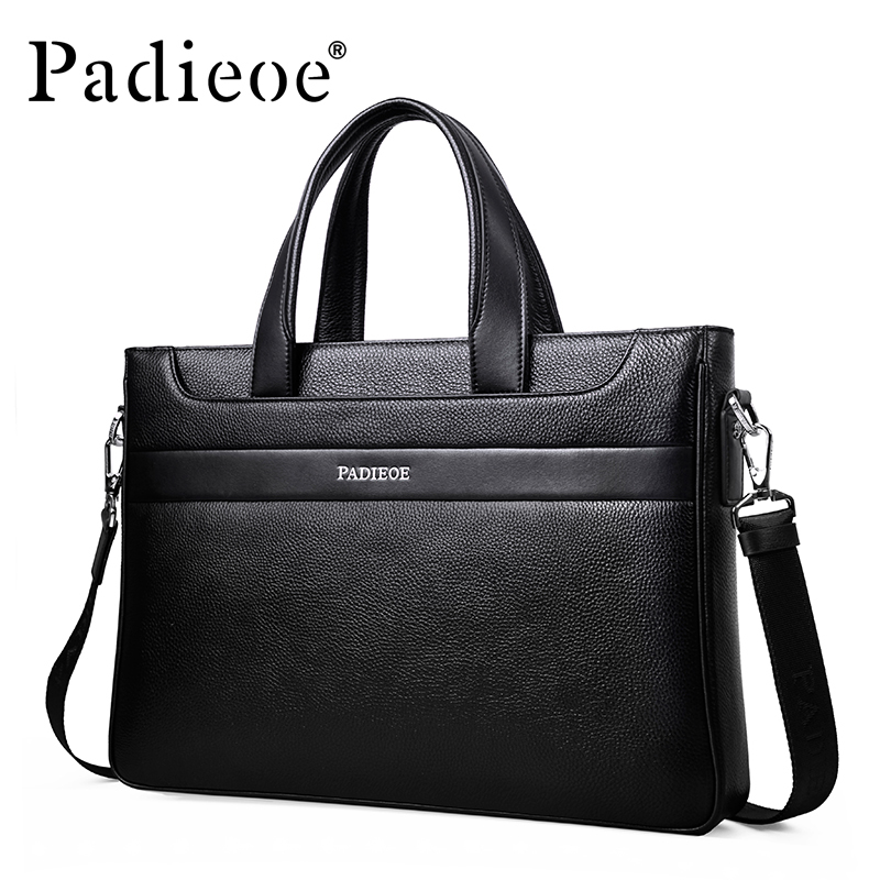 New fashion men's business shoulder bag famous designer handbags genuine leather briefcase high quality messenger bags for male