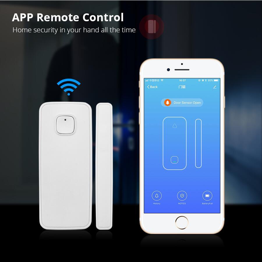 US $22 93 15% OFF|WIFI Door Magnetic Window Sensor Alarm APP Control  Android IOS Wireless Door Open Detector-in Sensor & Detector from Security  &