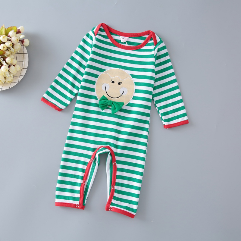 Cute Winter Kacakid Christmas Smile Striped Tattoo Dressing Romper Baby Girl Boy Long Sleeves Night Striped Pants 2 Colors