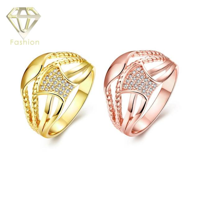 Online Gold Jewellery Shopping Cool Geometric Design Inlaid Cubic