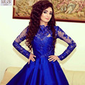 2016 Royal Blue A Line O Neck Satin Appliqued Lace Knee Length Prom Dresses