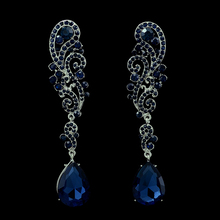 2015 Fashion luxury crystal flower long drop earrings large teardrop dangle earrings wedding jewelry for bridal