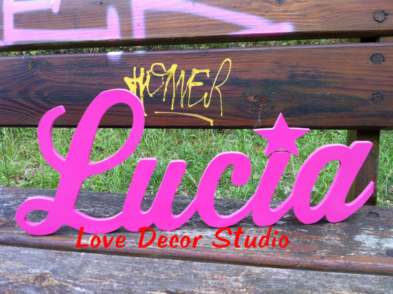 Custom nursery name sign, wood baby name, girl nursery decor, personaized name sign, Dark purple with silver glitter, Olive gree