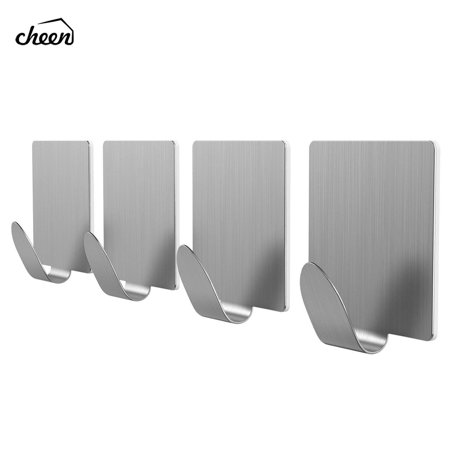 4pcs Brushed Stainless Steel Wall Hook Kitchen SelfAdhesive Hooks For Hanging Tools Suction Cup Coat Hanger Bathroom Accessories