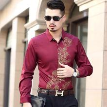 Long-sleeved Shirts Mens Dragon pattern Blouse clothing Hawaiian Dress Red Black Navy