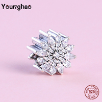 Younghao Jewelry Fit Original Pandora Charm Bracelet 925 Sterling Silver Flower Clear Crystal Stone Beads for Making DIY Gifts