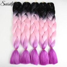 Saisity crochet hair extensions kanekalon jumbo braids ombre braiding hair synthetic hair extensions crochet braids box braids