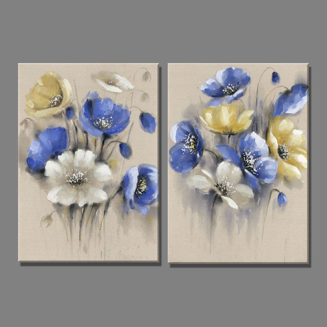 2 piece linen blue yellow flowers white flower oil painting canvas 2 piece linen blue yellow flowers white flower oil painting canvas art paintings for living room mightylinksfo Gallery