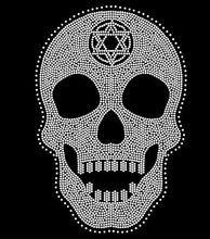 FS (2pc/lot) Big skull star rhinestones motif hot fix rhinestone applique designs  iron on transfer