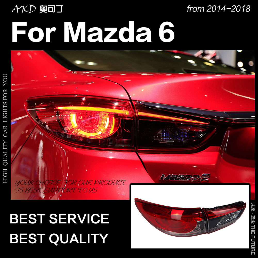 AKD Car Styling for <font><b>Mazda</b></font> <font><b>6</b></font> <font><b>Tail</b></font> <font><b>Lights</b></font> 2014-2018 Mazda6 Atenza LED <font><b>Tail</b></font> Lamp LED DRL Signal Brake Reverse auto Accessories image