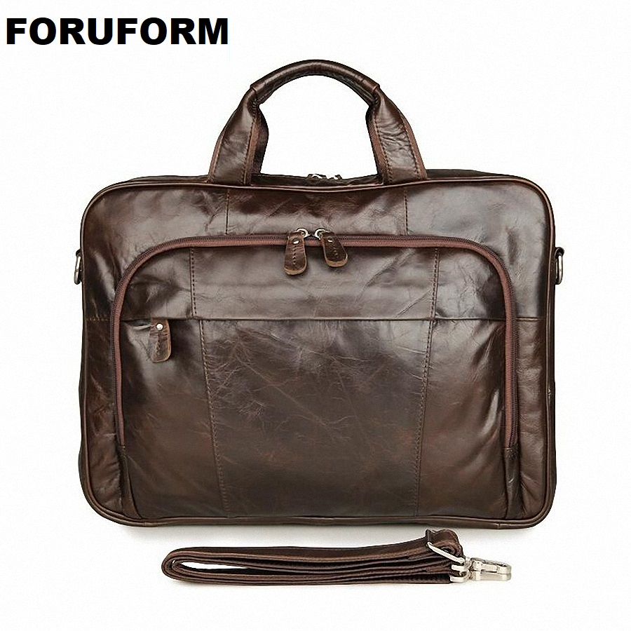 Vintage Men Briefcase Handbag 15 Inch Laptop Business Bag Genuine Leather Portfolio Men Briefcase Male Laptop Office Bag LI-1365 цена 2017
