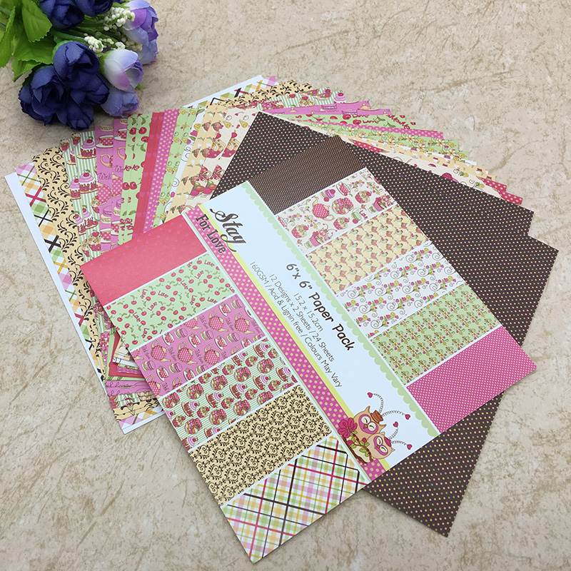 24 Sheets Scrapbooking Pads Paper Origami Background Paper Card Making DIY Paper Craft  07