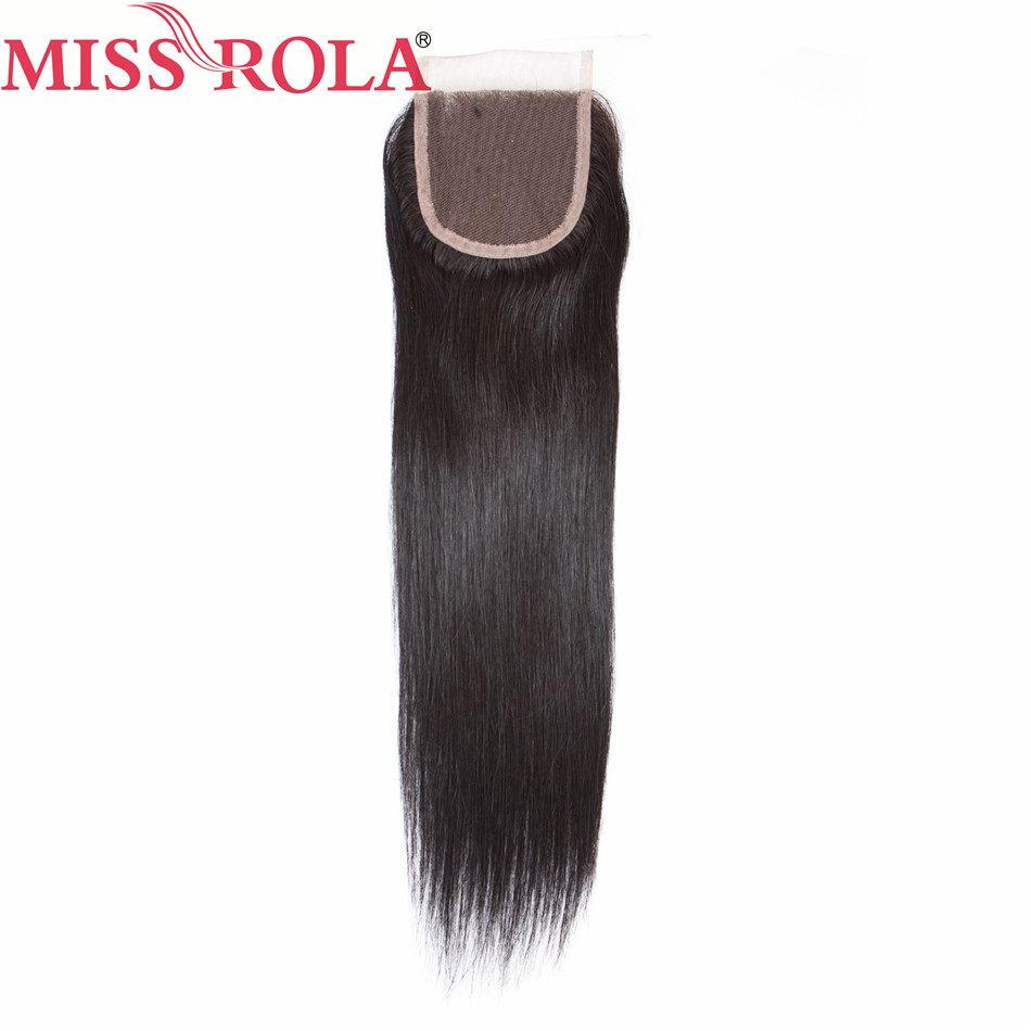 Miss Rola Pre-colored Malaysian Straight Nature Black  Closure Hair Weave 100% Human  Hair Closure  Non Remy hair