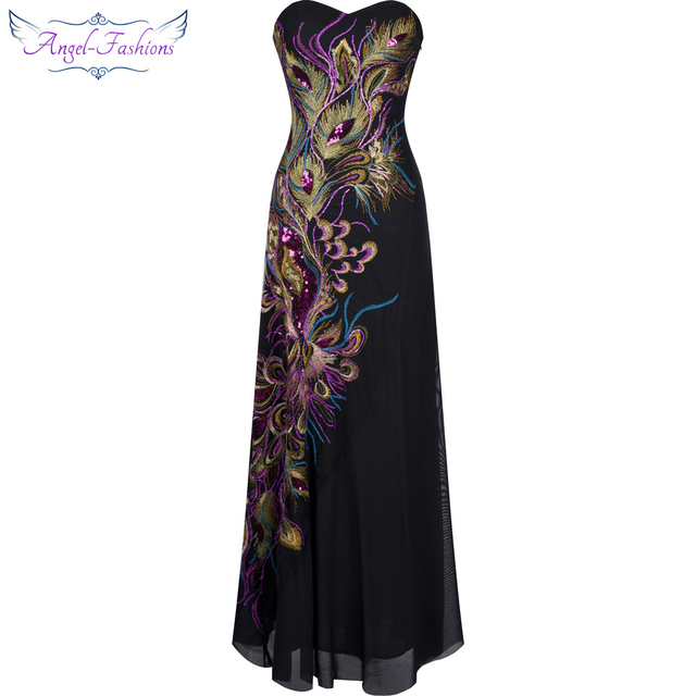 e73f98082b8 Angel-fashions Embroidery Sequined Peacock Tulle Vintage Style Formal Dress  Long Evening Dress Black 100