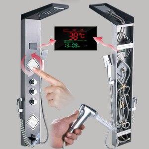 Image 5 - Panel de ducha de lluvia y Cascada con luz LED, grifo de ducha de baño, sistema de columna, 3 asas, mezcladores de ducha de 6 funciones con rociador de bidé