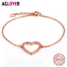 Rose Gold 925 Sterling Silver Bracelet Woman Heart Fashion Charm Female Jewelry