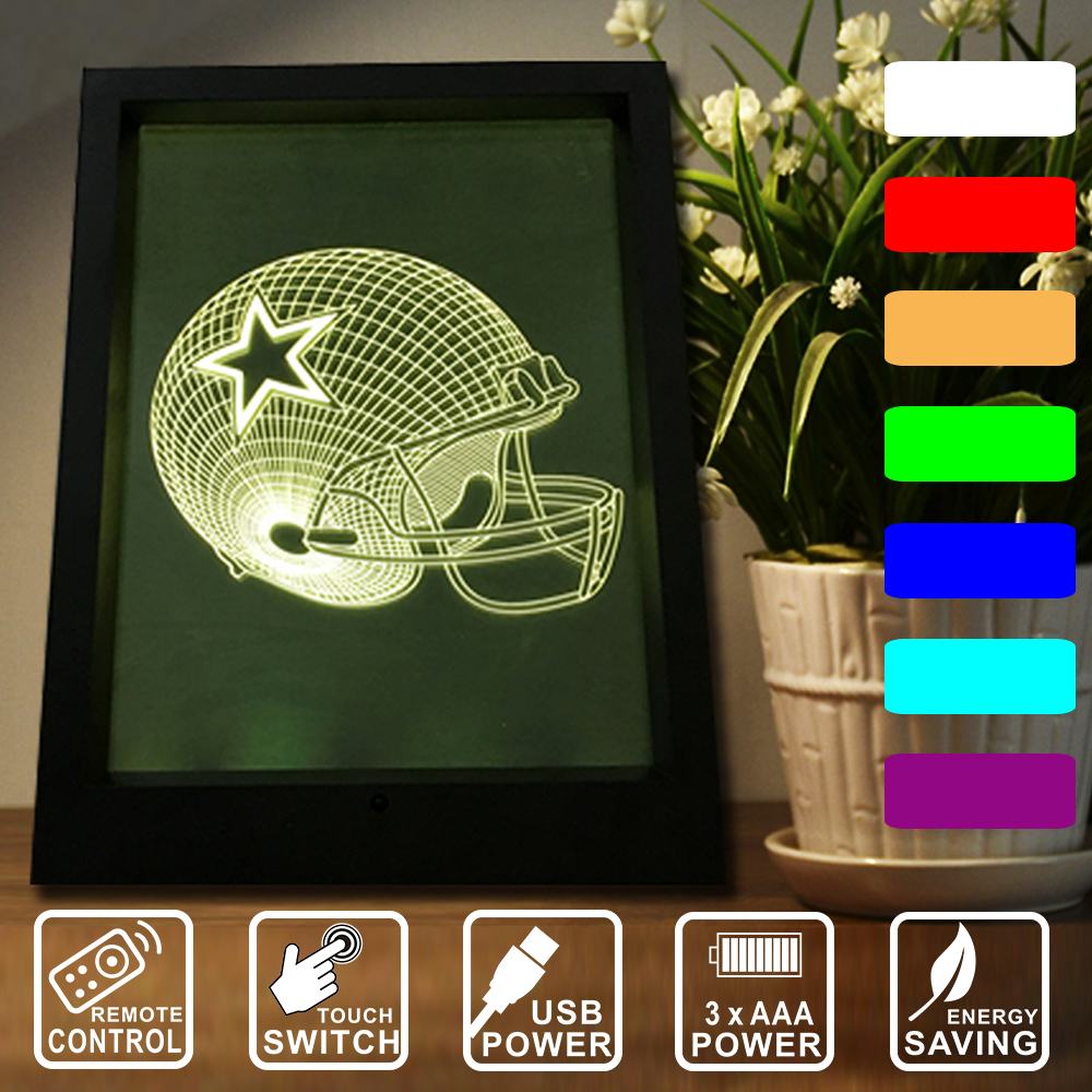 3d stereoscopic vision dallas cowboys led frame night light 7 3d stereoscopic vision dallas cowboys led frame night light 7 color changing night lamp remote controltouch switch iy803756 17 in night lights from lights jeuxipadfo Images
