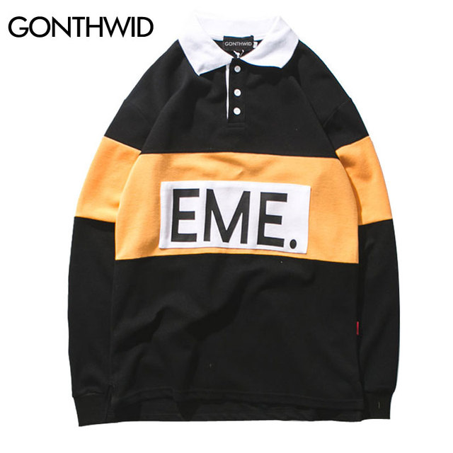 GONTHWID Color Block Patchwork Mens Button Polo Shirts 2018 Hip Hop Printed  Long Sleeve Shirt Casual Cotton Tops Tees Streetwear a5d8a2aa012