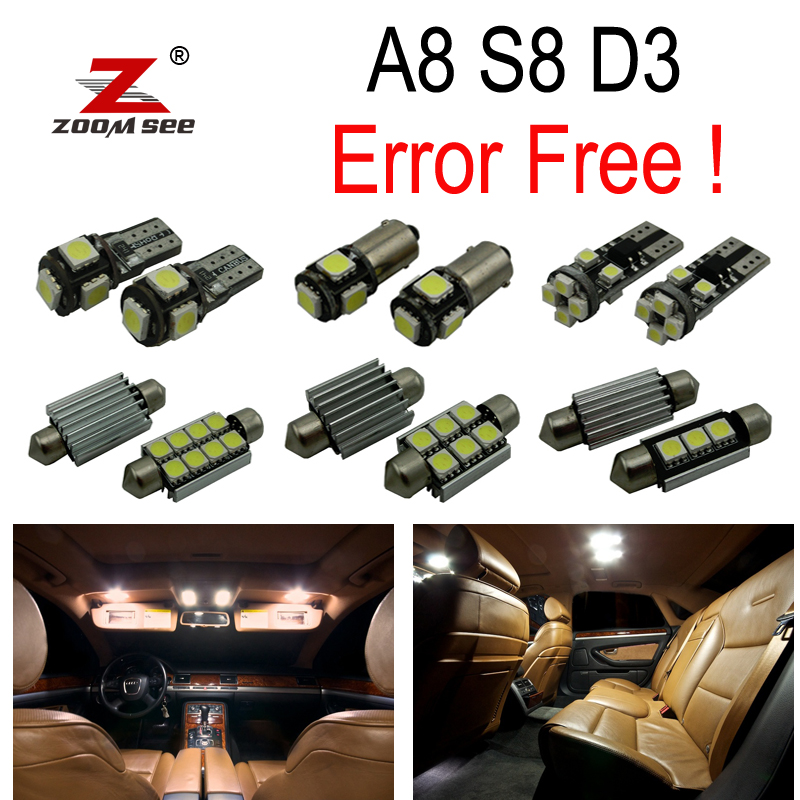 25pc X 100% Canbus Error Free LED Bulb Interior dome map Light Kit Package for Audi A8 S8 D3 (2003-2009) cawanerl car canbus led package kit 2835 smd white interior dome map cargo license plate light for audi tt tts 8j 2007 2012