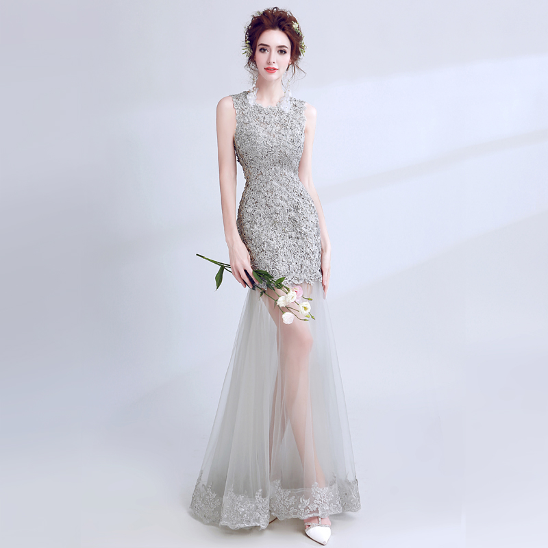 2019 Sexy   Prom     Dresses   O-Neck Venice Lace Sleeveless Illusion Skirt Formal Party   Dresses   Mermaid Style Gray Color   Prom   Gowns
