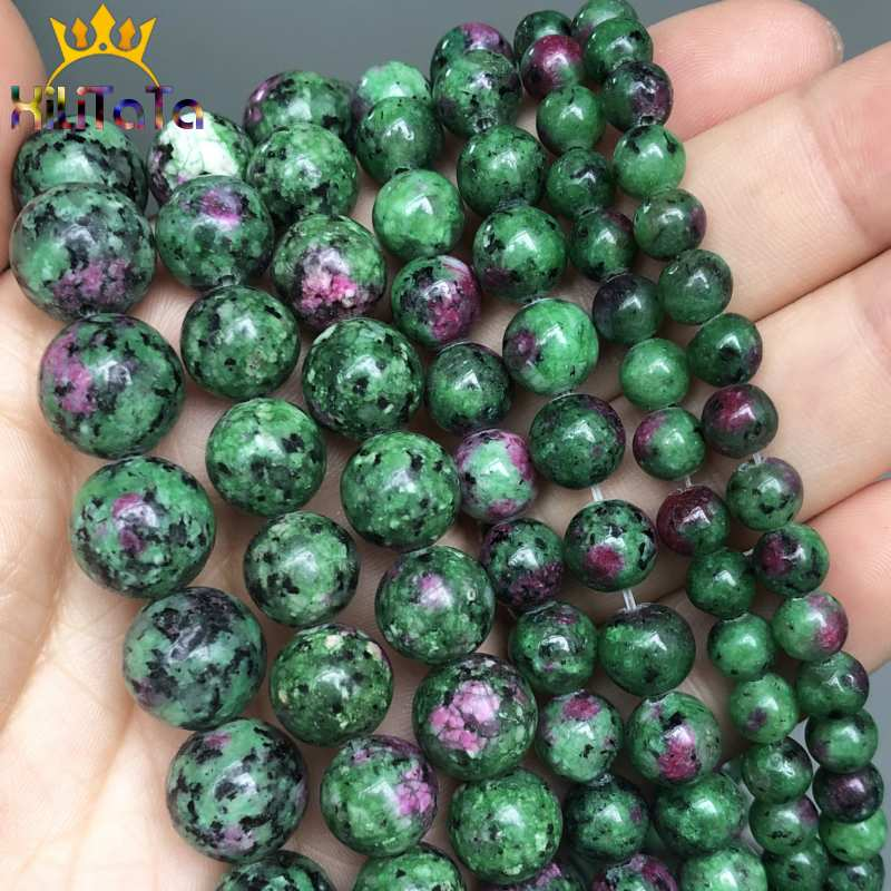 """Natural Epidote Zoisite Stone Beads Smooth Round Loose Beads For Jewelry Making DIY Bracelet Necklace 15""""Strand 6/8/10/12mm"""