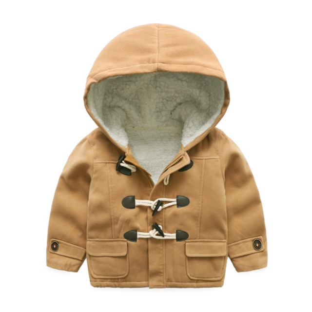 LittleSpring New Boys Winter Warm Coat Fashion Horn Button Solid Kids Boy Wool Coat Children Hooded Jacket Windproof Outerwear