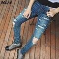 Apenada Flaco Ripped Jeans Para Hombre Gran Agujero En La Rodilla Azul Ropa Streetwear Botín Destruir Mezclilla Pantalones Kanye