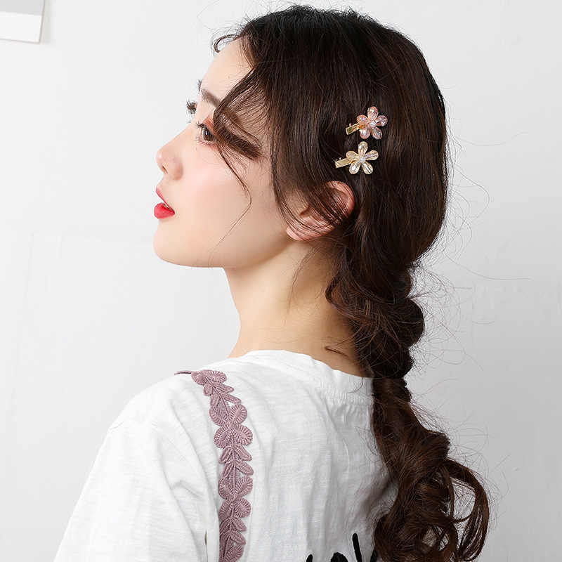 Sederhana Manis Rambut Pins Kristal Kecil Bunga Rambut Klip Untuk Wanita Wanita Jepit Paduan Hairdryer Bangs Aksesoris