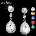 Nova Marca de Cristal Brincos para As Mulheres Brincos Moda Jóias Brincos de Prata com Pedras de Casamento Branco Vestido ers-g53