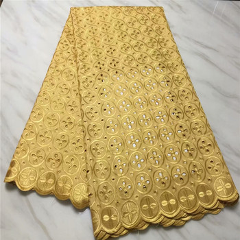 Egypt 100%Cotton Swiss Voile Lace Fabric 2018 High Quality Swiss Voile Lace In Switzerland for wedding dress in gold pl74-7