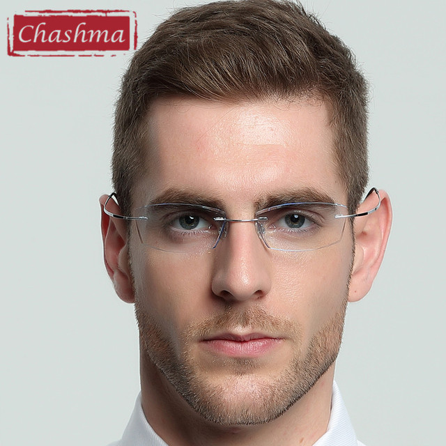 1a5bc8b617 Chashma Brand B Titanium Ultra Light Tint Glass Men Stylish Eye Glasses  Frame Diamond Trimmed Colored Lenses Men Eyeglasses