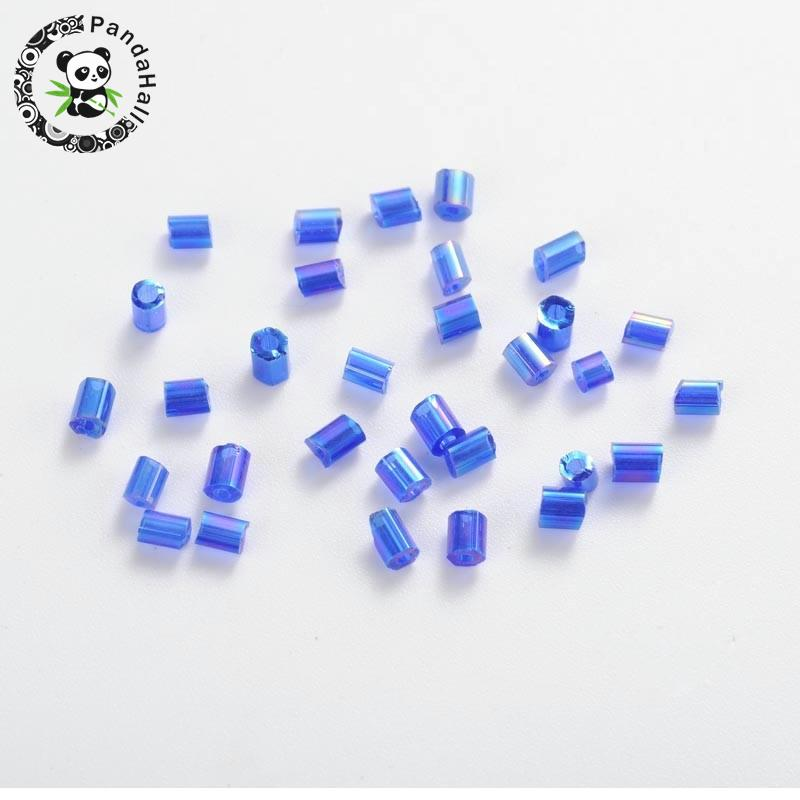 11/0 Two Cut Glass Seed Beads, Transparent Colours Rainbow, Blue, about 2mm long, 2mm wide, hole: 0.5mm, about 37500pcs/pound