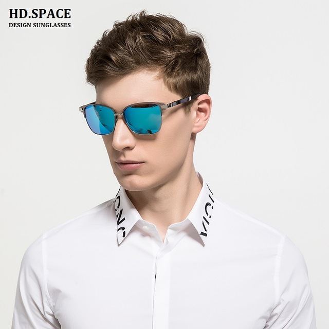 HD.space Mens Square Retro Aluminum Sunglasses Polarized Blue Lens Vintage  Eyewear Accessories Sun Glasses For Men Women b407cb20b
