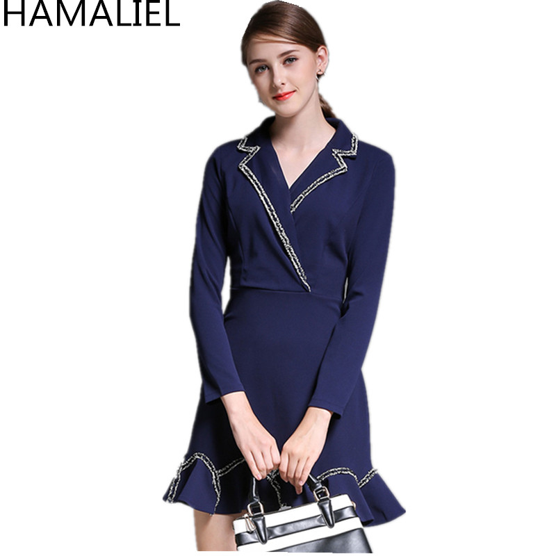 HAMALIEL 2018 Autumn Women Dress High Quality Runway Blue Patchwork Notched Collar Casua ...