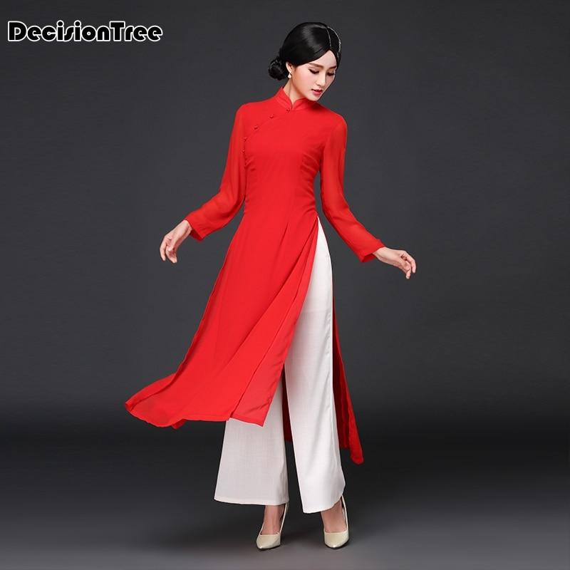 2017 musim panas vietnam ao dai pakaian tradisional Cina cina pakaian - Pakaian kebangsaan - Foto 5