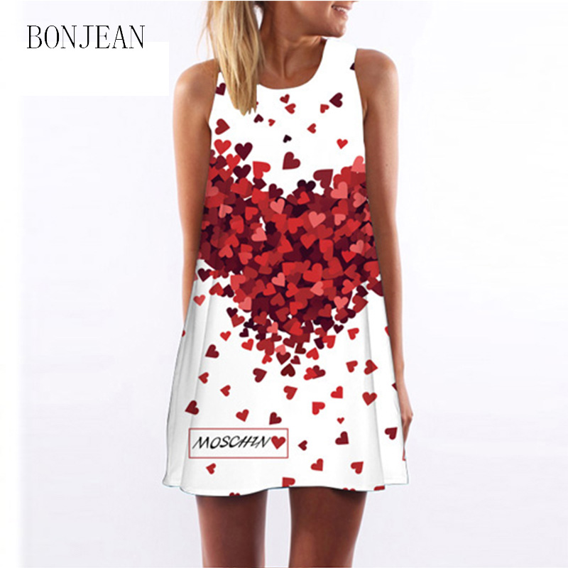 BN032 Nuevo Verano de Las Mujeres Ropa de Impresión Ocasional Flojo Mini Vestido
