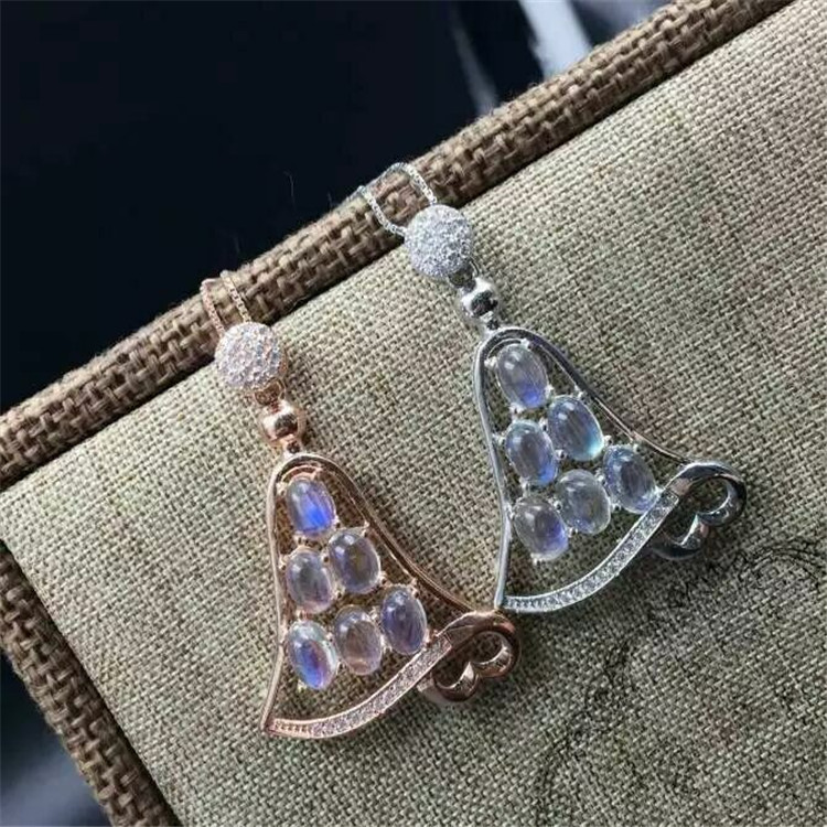 KJJEAXCMY boutique di gioielli 925 Puro argento intarsio di pietra di luna orologio in oro ciondolo + collana della pietra preziosa naturale della signora mano decor - 2