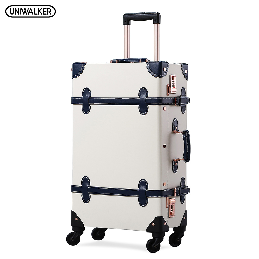 UNIWALKER Unisex 12''20''22''24''26'' PU Leather Vintage Rolling Luggage Retro Trolley Carry on Suitcase with Spinner Wheels 2pcs set vintage pu leather travel luggage 12 20 22 24 26 retro trolley suitcase bags with spinner wheels with tsa lock