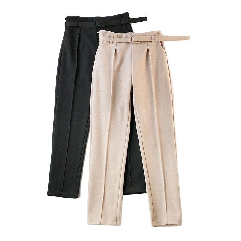 5214a4c28 Faixas elegantes Calças das Mulheres 2018 Outono Inverno Sólidos Bolsos De  Cintura Alta Harem Pants Harajuku