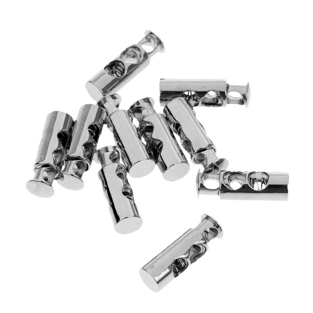 10 قطع معدنية مزدوجة برميل الحبل قفل رسم سلسلة تبديل سدادة cordlock الفضة