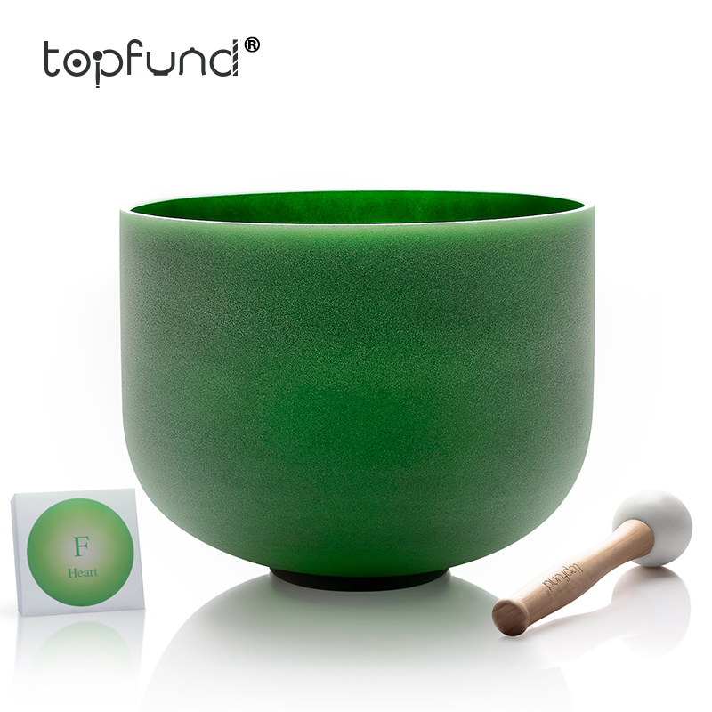 TOPFUND 432hz/Perfect Pitch F Note Heart Chakra Green Colored Frosted Quartz Crystal Singing Bowl 10