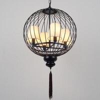 Современная китайская клетка железные подвесные лампы антикварные железные Лофт лампы железное Искусство ретро гостиная ресторан подвесн