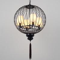 Modern Chinese cage iron pendant lamps antique iron loft lamps iron art retro living room restaurant pendant light ZA81513