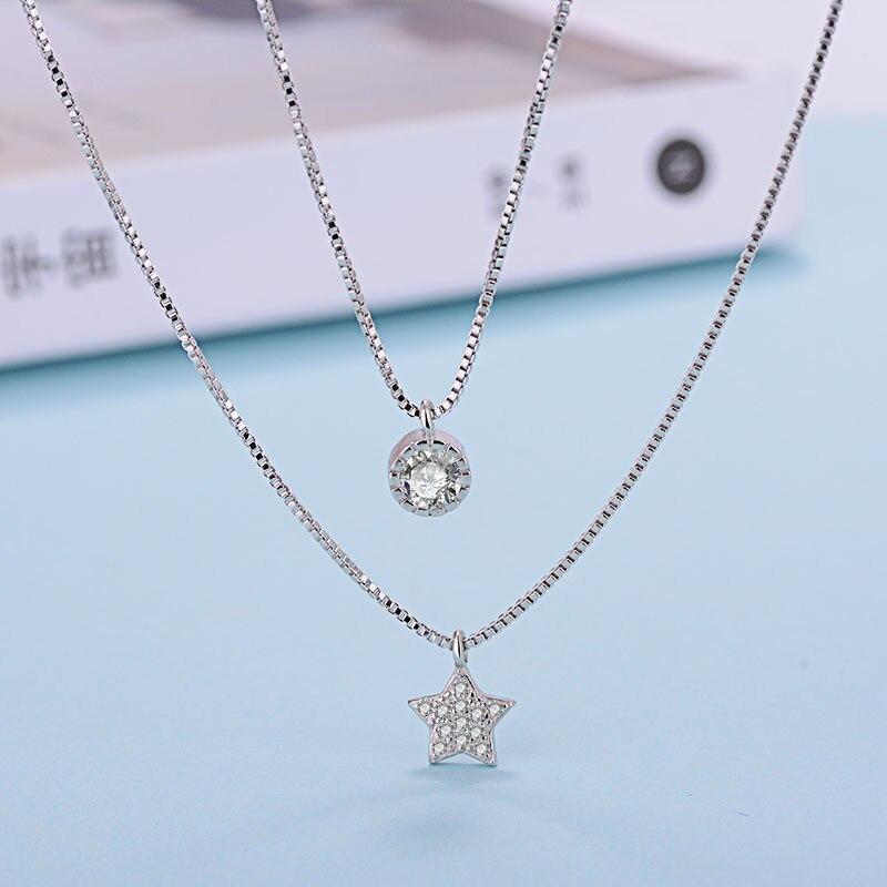e539522d7602 Venta al por mayor de joyería de plata de ley 925 capas dobles de la  clavícula collar cadena CZ de cinco puntas de la estrella colgante de collar  para las ...